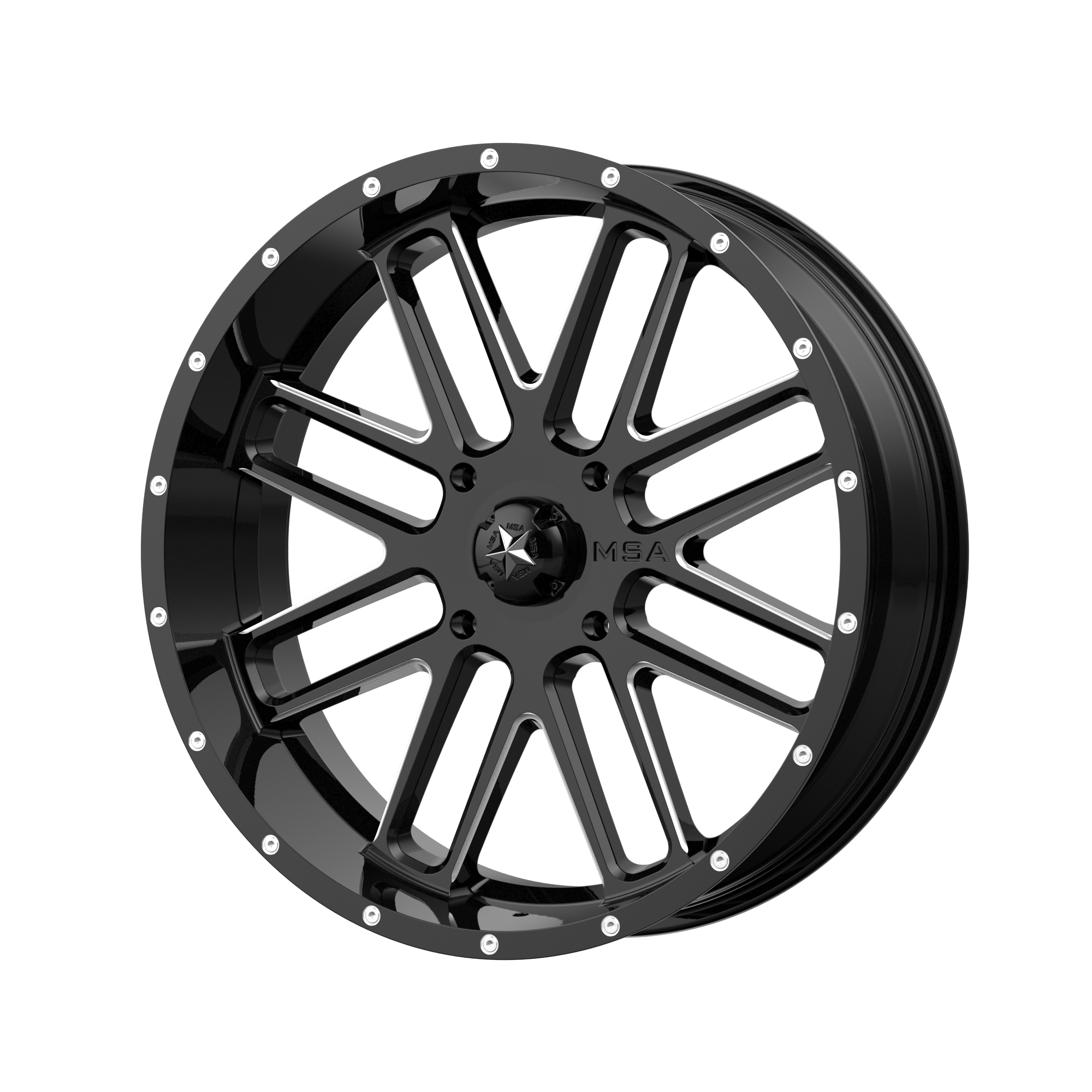 MSA OFFROAD WHEELS BANDIT GLOSS BLACK MILLED