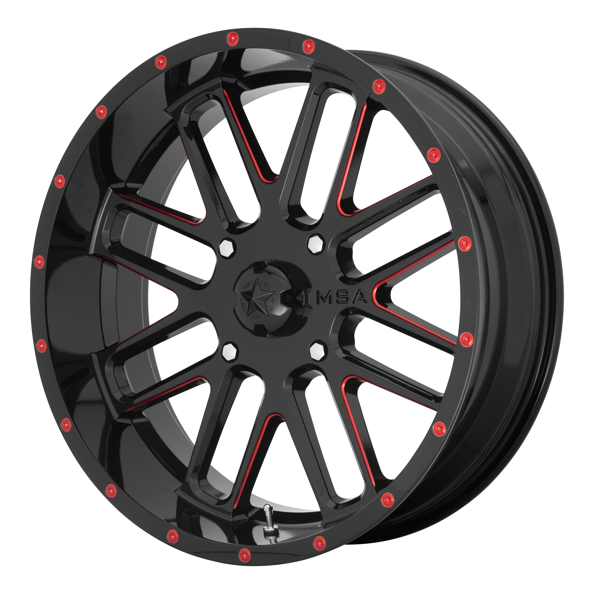 MSA OFFROAD WHEELS BANDIT GLOSS BLACK MILLED W/ RED TINT