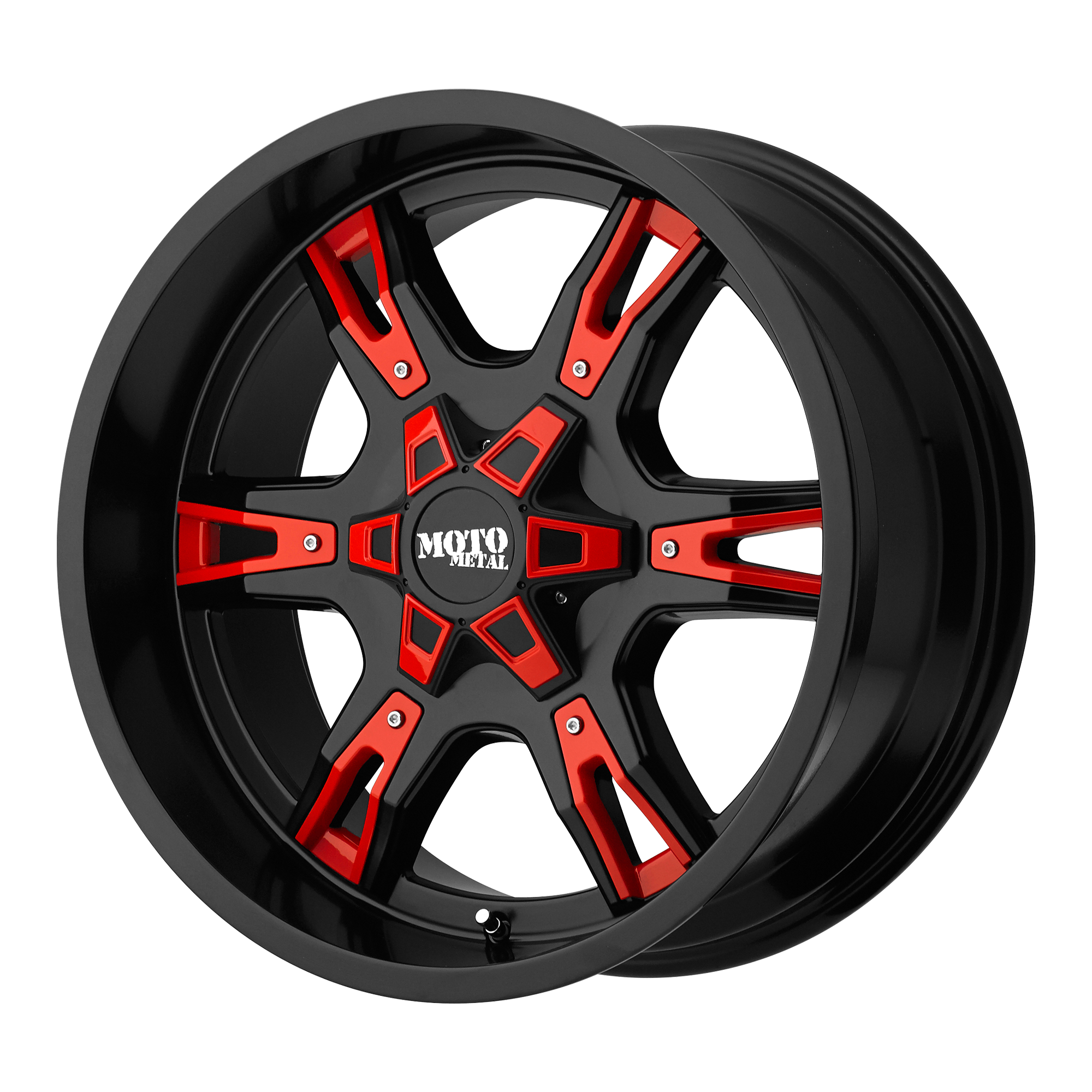 MOTO METAL MO969 hliníkové disky 12x20 5x127 ET-44 Satin Black With  Red And Chrome Accents