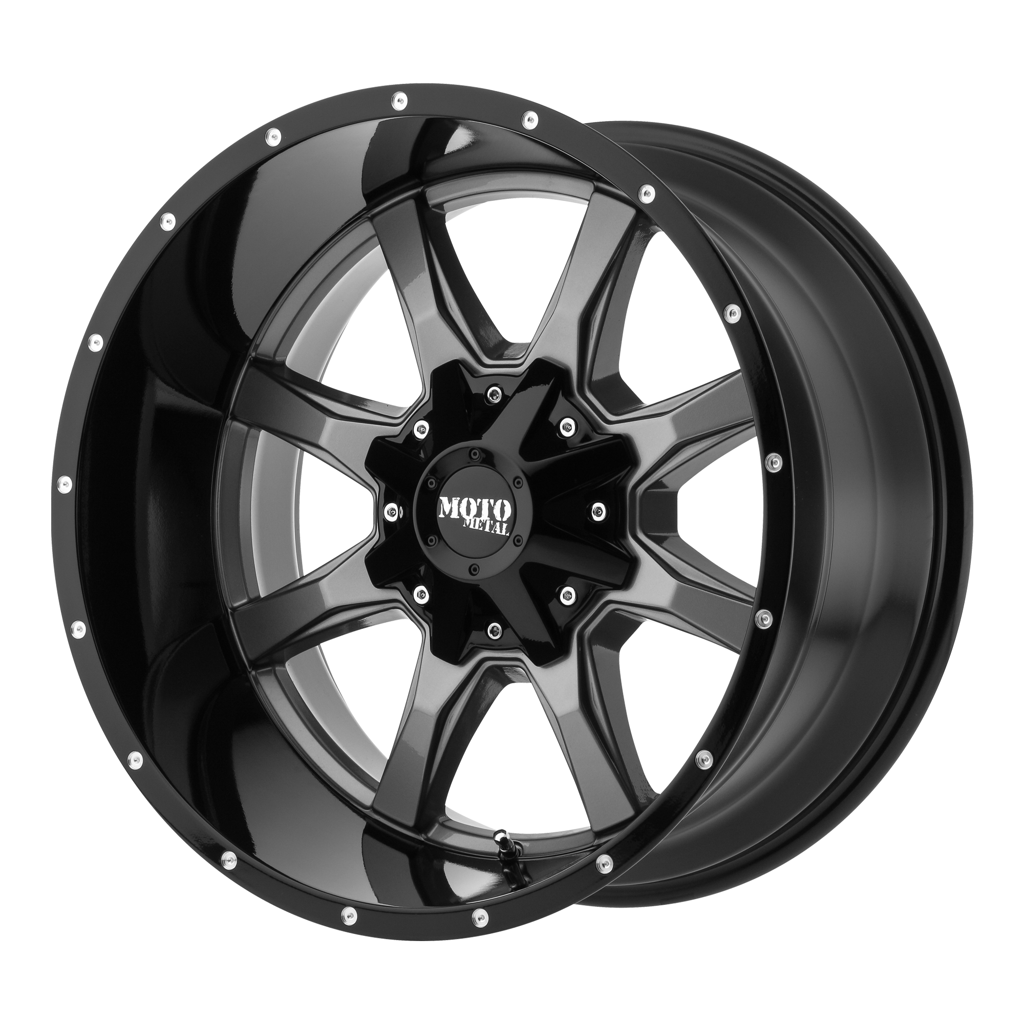 MOTO METAL MO970 hliníkové disky 10x18 5x150 ET-24 Gloss Gray Center Gloss Black Lip