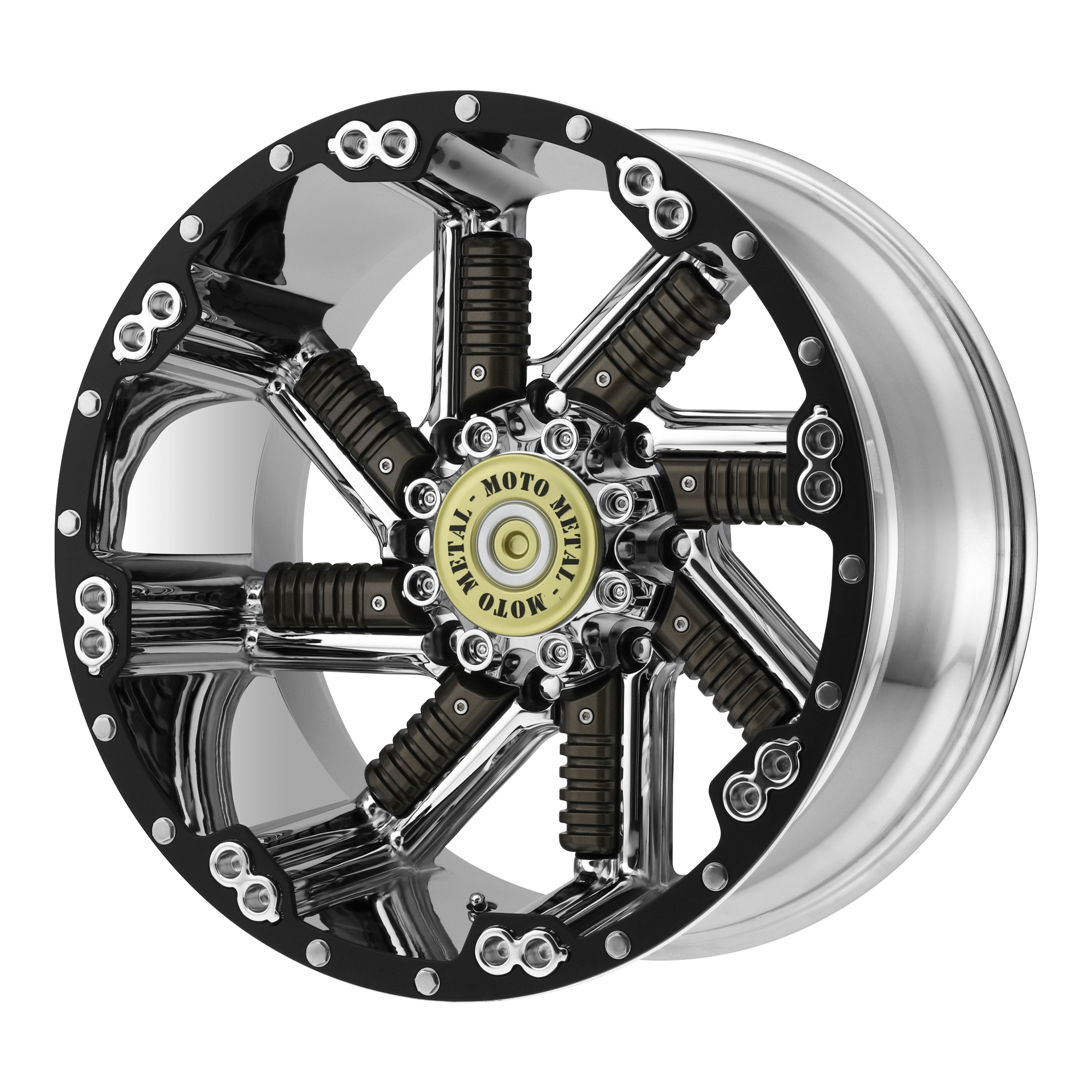 MOTO METAL MO979 BUCKSHOT hliníkové disky 12x22 na zakázku ET-44 Chrome With Gun Metal Inserts