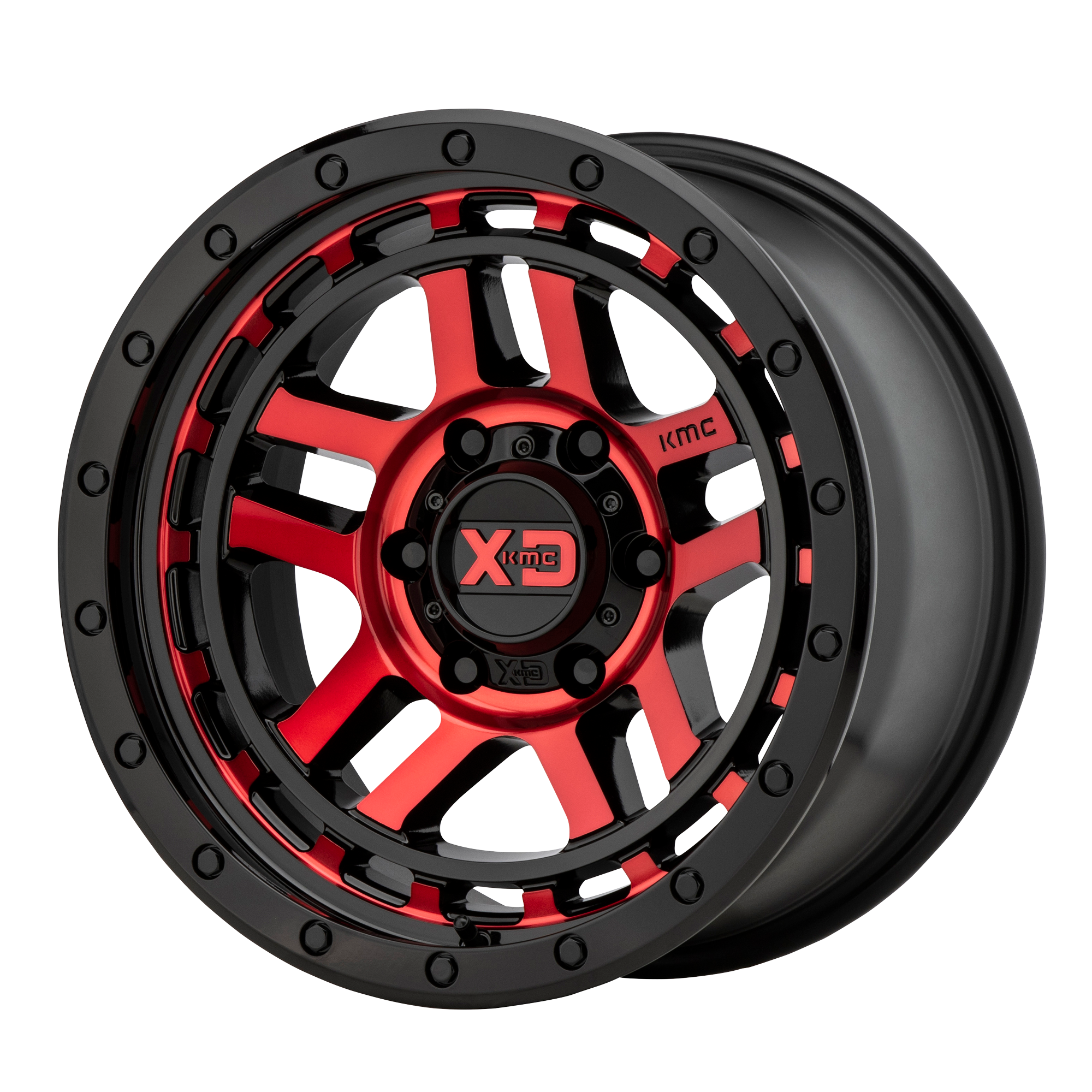 XD SERIES XD140 RECON hliníkové disky 9x17 5x127 ET-12 Gloss Black Machined With Red Tint