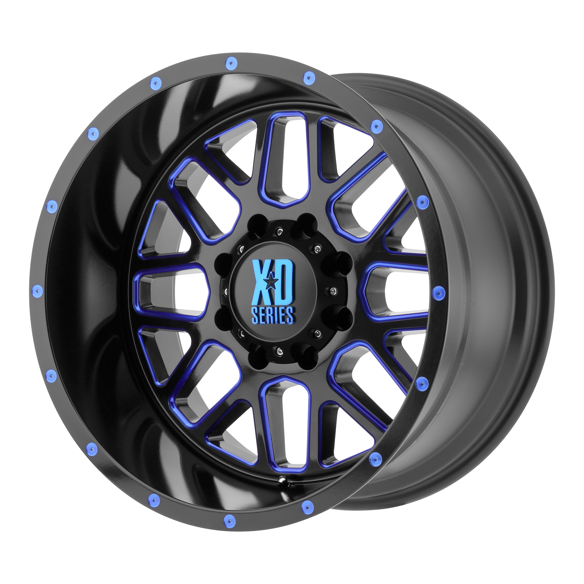 XD SERIES XD820 GRENADE hliníkové disky 9x18 5x127 ET-12 Satin  Black Milled With Blue Clear Coat