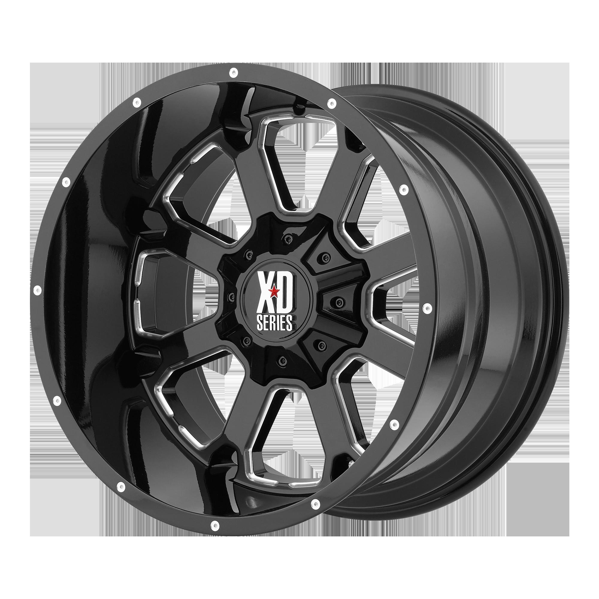 XD SERIES XD825 BUCK 25 hliníkové disky 12x20 5x150 ET-44 Gloss Black Milled