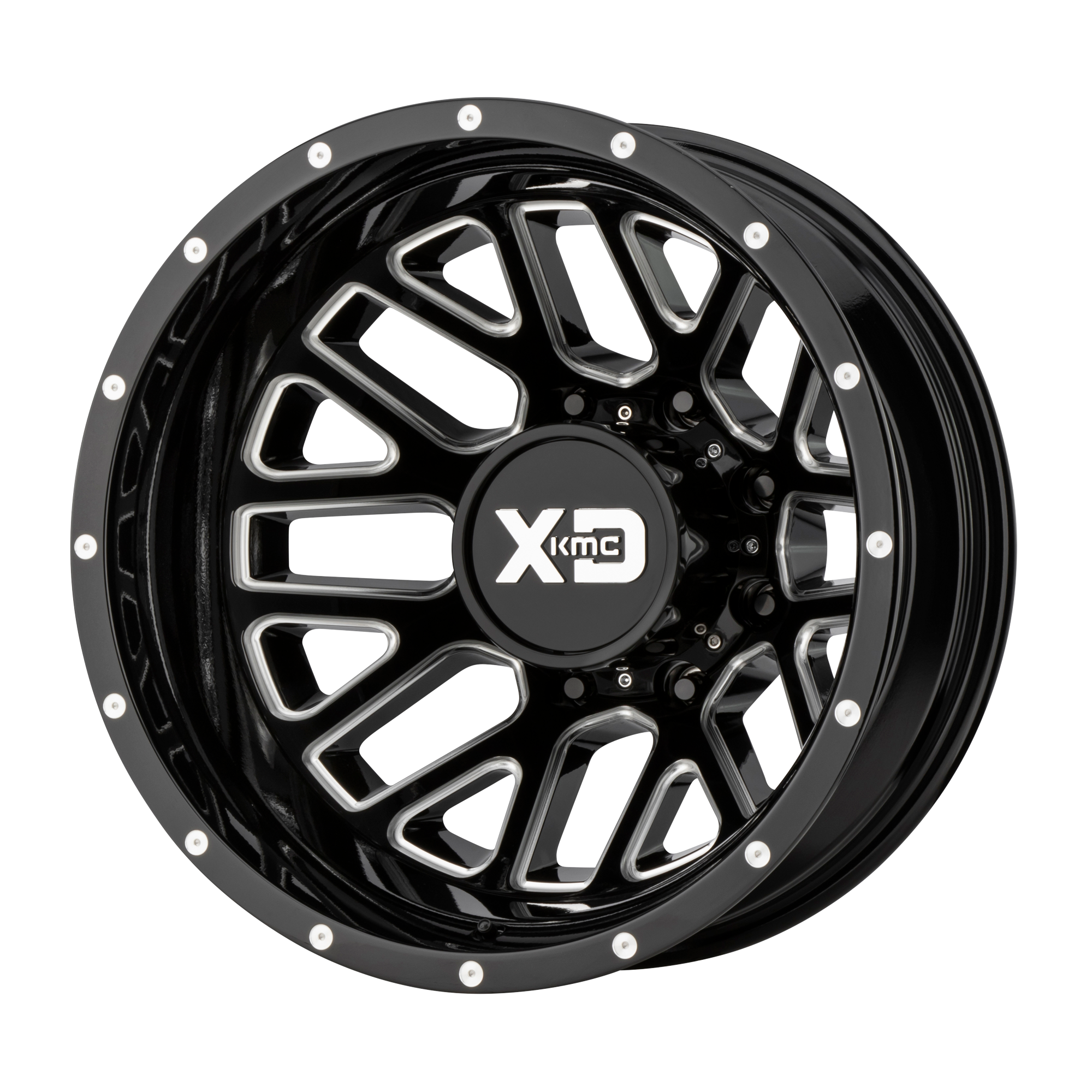 XD SERIES XD843 GRENADE DUALLY hliníkové disky 6,5x17 8x165,1 ET-140 Gloss Black Milled - Rear